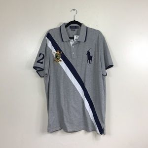 Ralph Lauren Polo Grey Stripe Polo Shirt